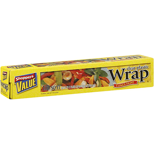 Shoppers Value Plastic Wrap, Clear, 100 Square Feet