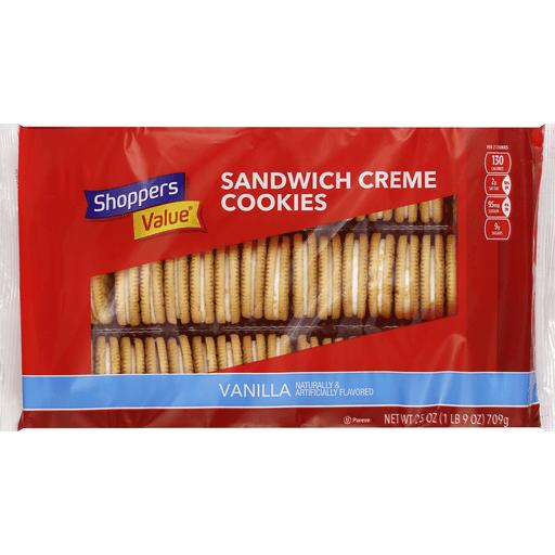 Shoppers Value Cookies, Sandwich Creme, Vanilla