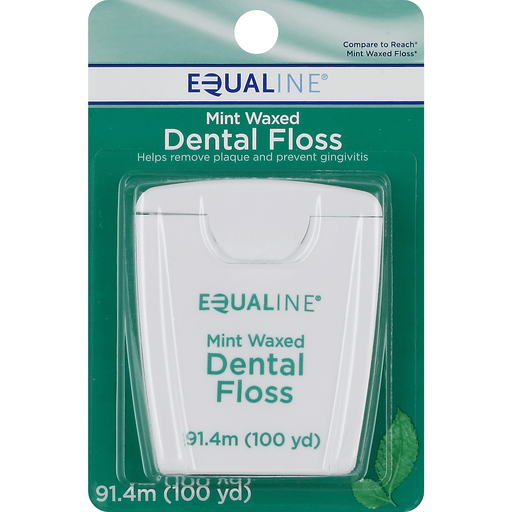 Equaline Dental Floss, Waxed, Mint, 100 Yards