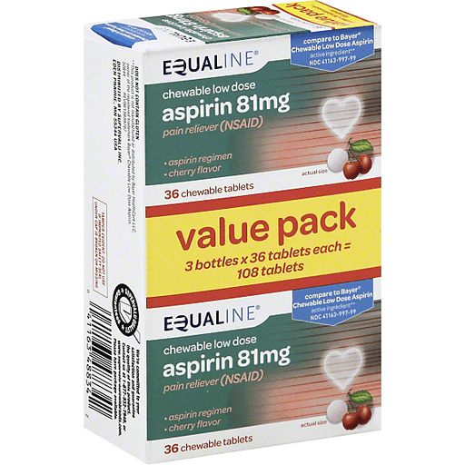 Equaline Aspirin Chewable Low Dose 81 Mg Chewable Tablets Cherry Flavor Value Pack Shop Chief Markets