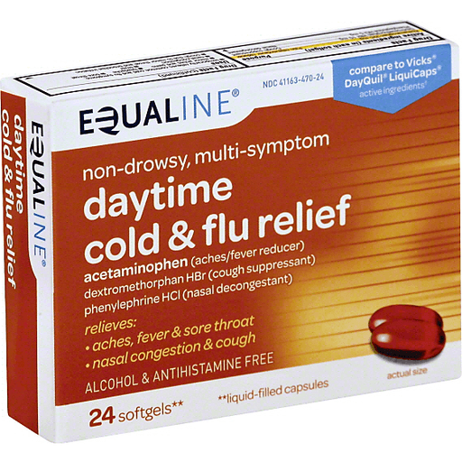 Equaline Cold & Flu Relief, Daytime, Non-Drowsy, Multi-Symptom, Softgels