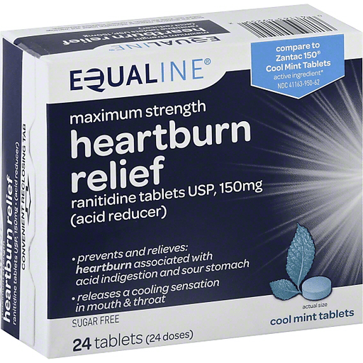 Equaline Heartburn Relief, Maximum Strength, 150 mg, Tablets, Cool Mint Tablets