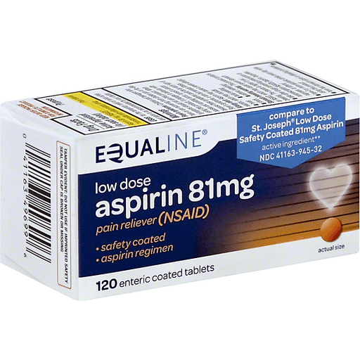 Equaline Aspirin, Low Dose, 81 mg, Enteric Coated Tablets