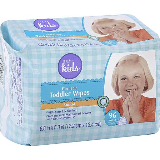 Basics For Kids Toddler Wipes, Flushable, Scented