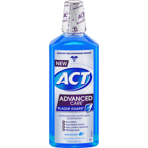 ACT Advanced Care Plaque Guard Mouthwash, Antigingivitis/Antiplaque, Frosted Mint