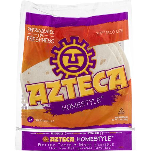 Azteca Tortillas, Flour, Home Style, Taco Size