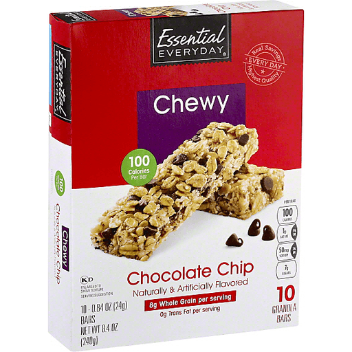 Essential Everyday Granola Bars, Chewy, Chocolate Chip