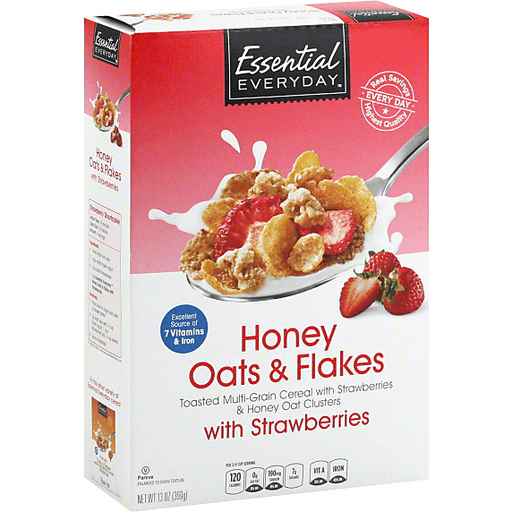Essential Everyday Cereal, Honey Oats & Flakes, with Strawberries
