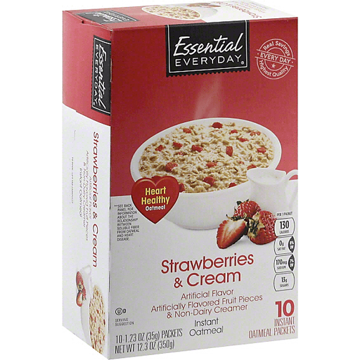 Essential Everyday Oatmeal, Instant, Strawberries & Cream