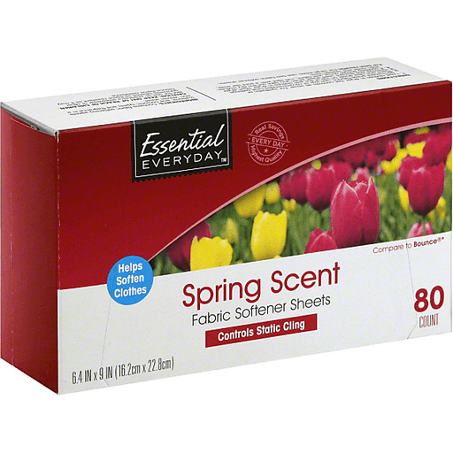 Essential Everyday Fabric Softener Sheets, Spring Scent