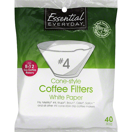 Essential Everyday Coffee Filters, Cone-Style, No. 4, White Paper, 8-12 Cup