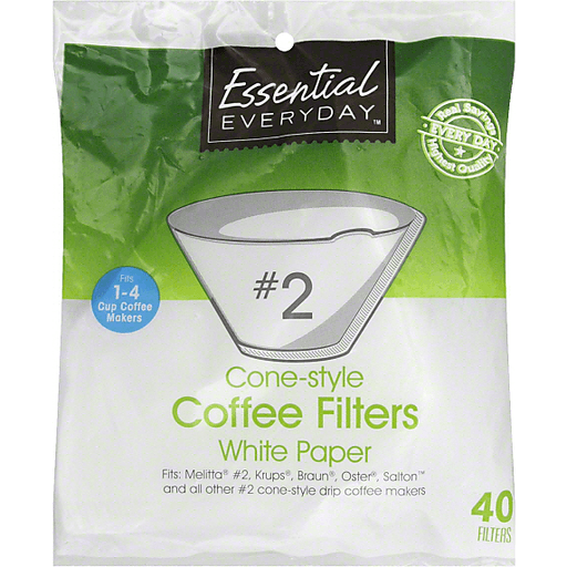 Essential Everyday Coffee Filters, Cone-Style, No. 2, White Paper