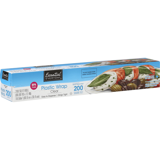 Essential Everyday Plastic Wrap, Clear, 200 Square Feet