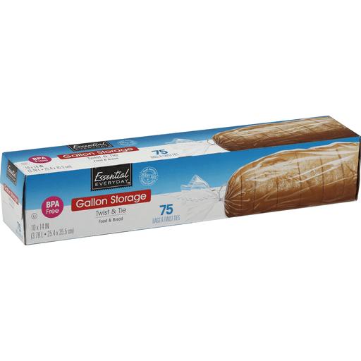 Essential Everyday Storage Bags, Twist & Tie, Food & Bread, Gallon