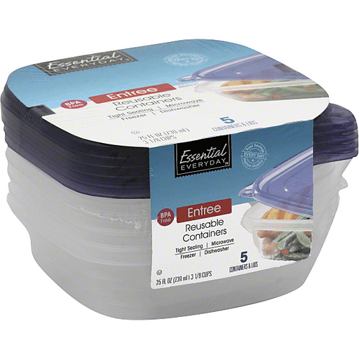 Essential Everyday Containers & Lids, Reusable, Entree
