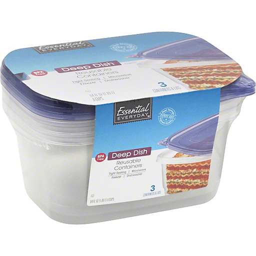 Essential Everyday Containers & Lids, Reusable, Deep Dish, 8 Cups