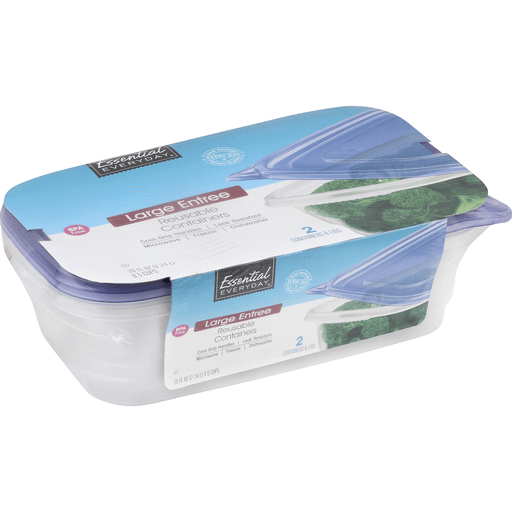 Essential Everyday Containers & Lids, Reusable, Large Entree, 9.5 Cups
