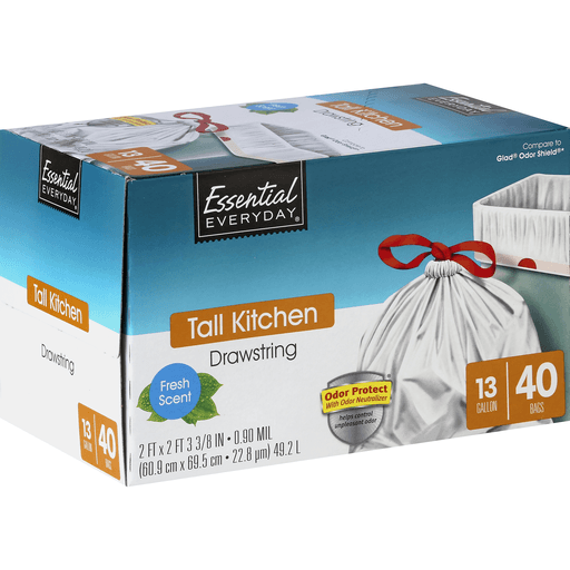 Essential Everyday Tall Kitchen Bags, Drawstring, Odor Protect, Fresh Scent, 13 Gallon