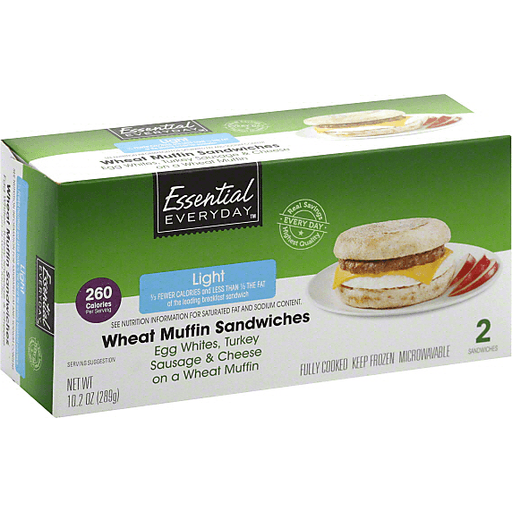 Essential Everyday Wheat Muffin Sandwiches, Light, Egg Whites, Turkey Sausage & Cheese
