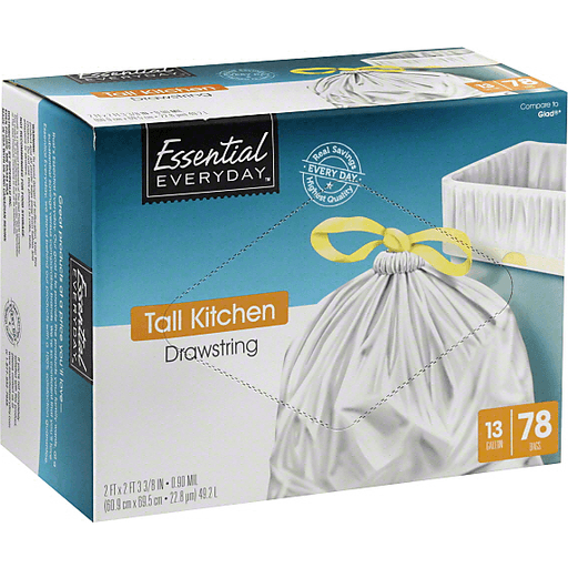 Essential Everyday Kitchen Bags, Tall, Drawstring, 13 Gallon