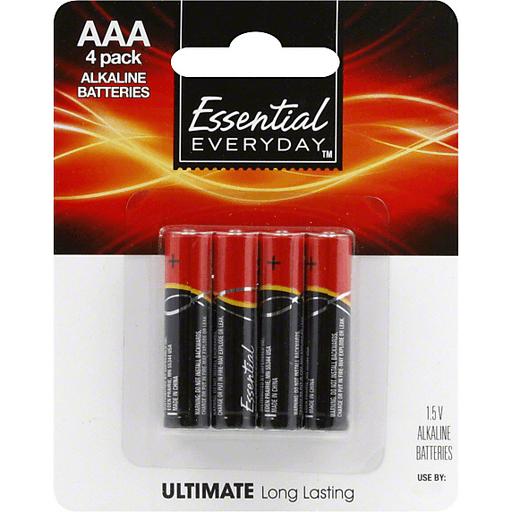Essential Everyday Batteries, Alkaline, AAA, 4 Pack