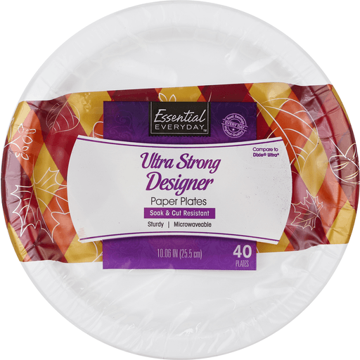 Essential Everyday Paper Plates, Ultra Strong, Designer, 10.06 Inch