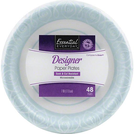 Essential Everyday Paper Plates, Designer, 7 Inch