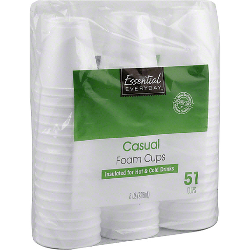 Essential Everyday Foam Cups, Casual, 8 oz