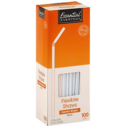 Essential Everyday Straws, Flexible, Plastic, Colorful Stripes