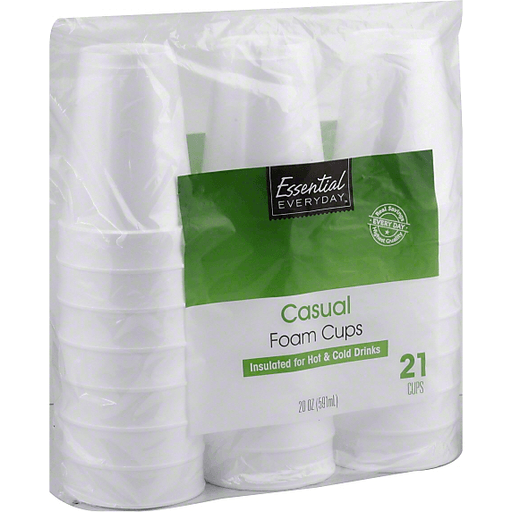 Essential Everyday Foam Cups, Casual, 20 oz