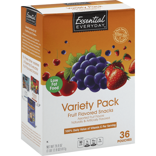 Essential Everyday Fruit Flavored Snacks, Assorted Fruit Flavors