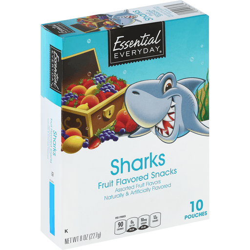 Essential Everyday Fruit Flavored Snacks, Assorted, Sharks
