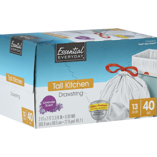 Essential Everyday Tall Kitchen Bags, Drawstring, Odor Protect, Lavender Scent, 13 Gallon