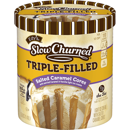 Dreyers Slow Churned Ice Cream, Light, Triple-Filled, Salted Caramel Cores