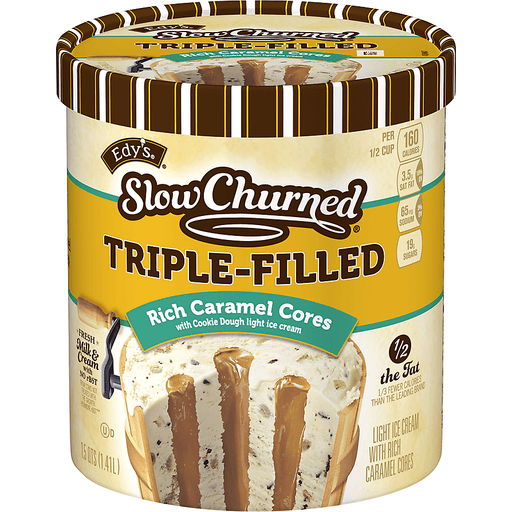 Dreyers Slow Churned Ice Cream, Light, Triple-Filled, Rich Caramel Cores