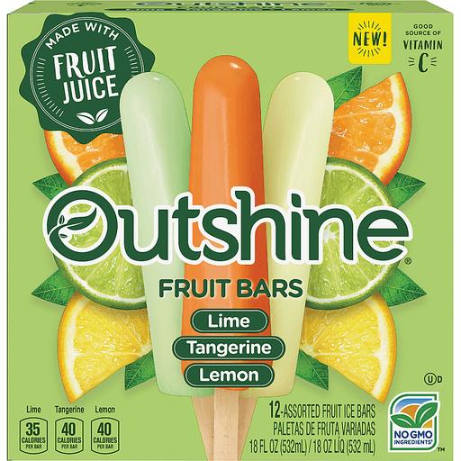 OUTSHINE Lime, Tangerine & Lemon Fruit Bars Variety Pack 12 ct Box