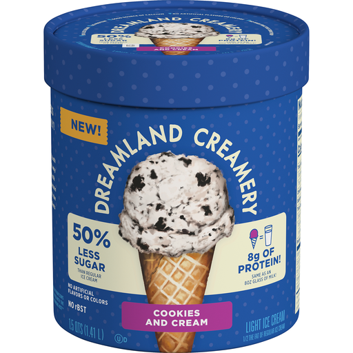 Dreamland Creamery Cookies And Cream Light Ice Cream 1 5 Qt Tub Shop Freshop Merchant