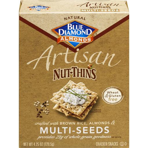 Blue Diamond Artisan Nut-Thins Cracker Snacks, Natural, Multi-Seeds