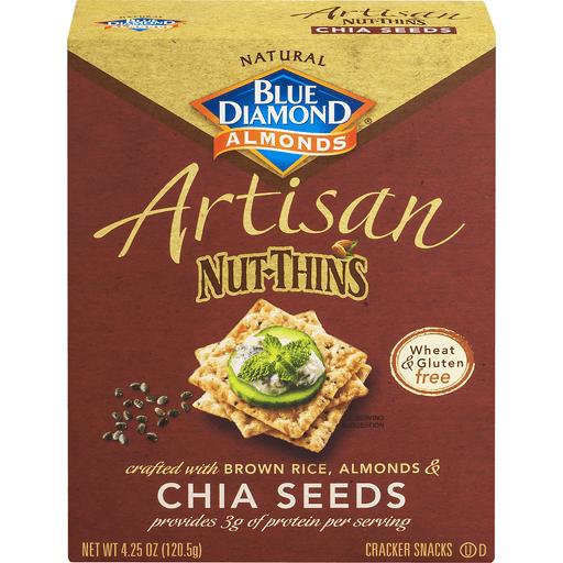 Blue Diamond Artisan Nut-Thins Cracker Snacks, Almonds, Chia Seeds