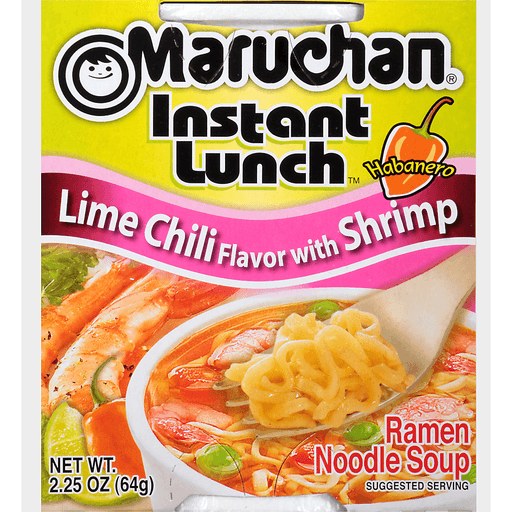 Maruchan Instant Lunch Ramen Noodle Soup Lime Chili Flavor With Shrimp
