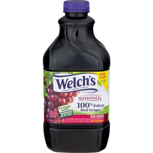Welchs 100% Juice, Smooth, Red Grape
