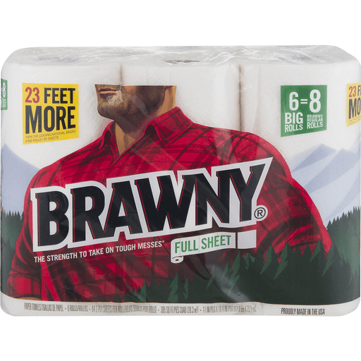 Brawny Paper Towels, Full Sheet, White, Big Rolls, 2-Ply