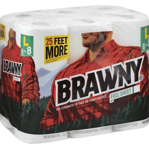 Brawny Paper Towel, Full Sheet, L, 2-Ply