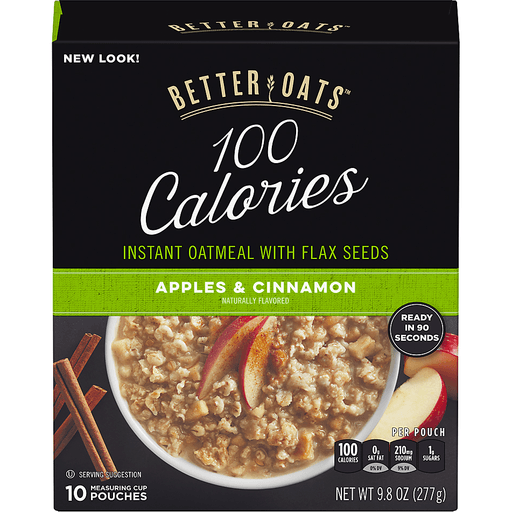 Better Oats® 100 Calories Apples & Cinnamon Instant Oatmeal with Flax Seeds 10 ct Pouches