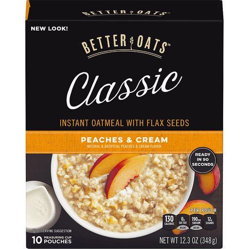 Better Oats Oat Revolution! Oatmeal, Instant, with Flax, Peaches & Cream, Measuring Cup Pouches