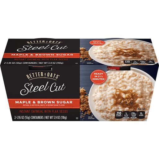 Better Oats™ Steel Cut Maple & Brown Sugar Instant Oatmeal with Flax Seeds 2-1.95 oz. Containers