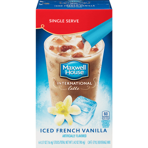 Maxwell House International French Vanilla Iced Latte Cafe-Style Beverage Mix 6 ct Box