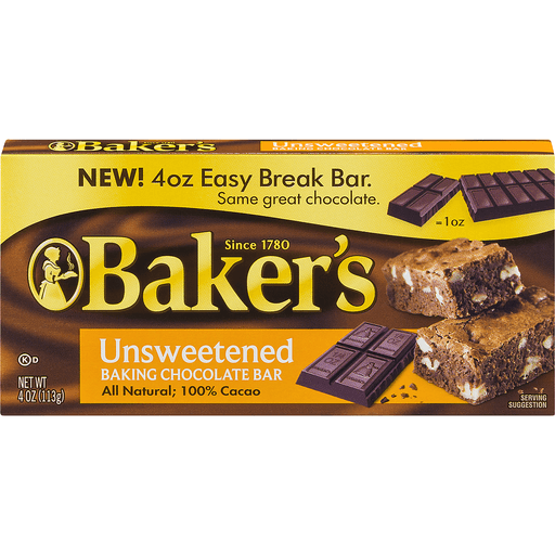 Baker's 100% Cacao Baking Bar Unsweetened Chocolate