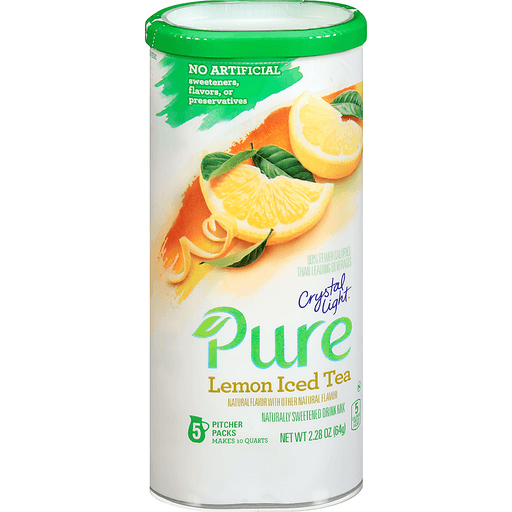 Crystal Light Pure Lemon Iced Tea Drink Mix 5 ct Canister