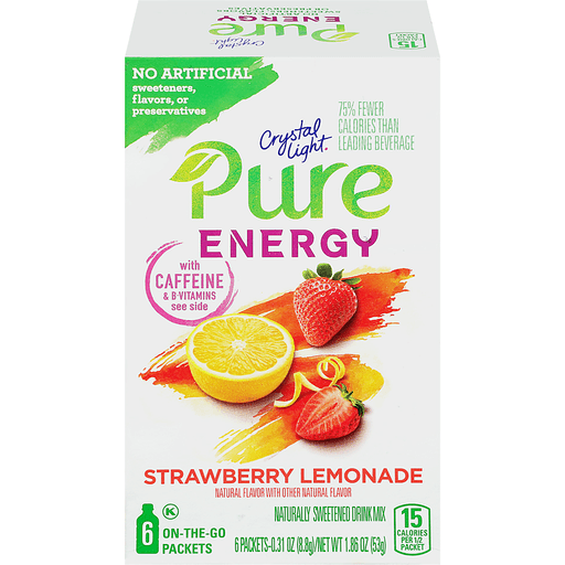 Crystal Light Pure Energy On the Go Strawberry Lemonade Drink Mix 6 ct Box